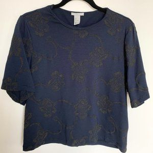H&M navy blue blouse with khaki embroidery 💙